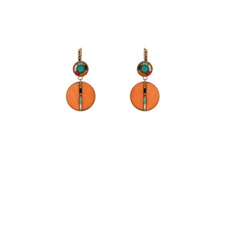 Boucles d'oreilles dormeuses solaires plumes turquoise | orange