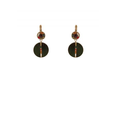 Refined feather garnet sleeper earrings   khaki
