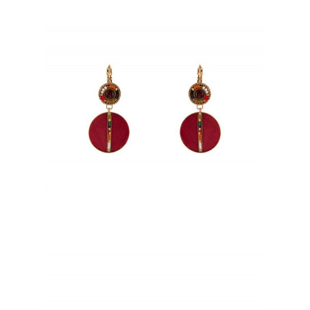 Glamorous garnet feather sleeper earrings | red