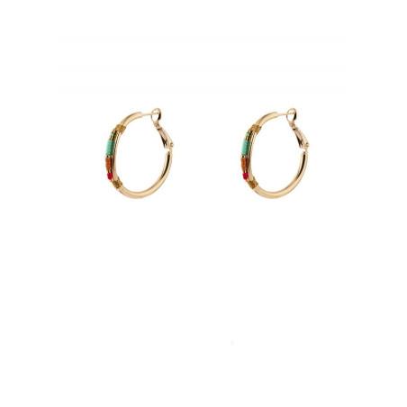 Boucles d'oreilles créoles percées mode perles du Japon   turquoise
