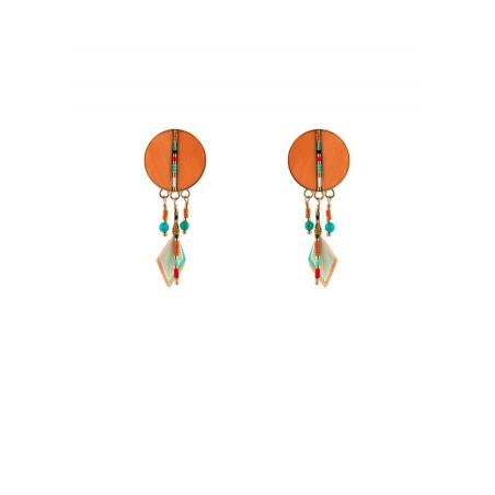 Boucles d'oreilles clips estivales plumes | orange