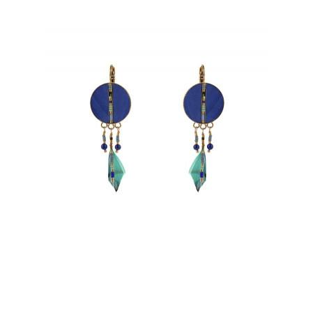 Boucles d'oreilles dormeuses fantaisies plumes | bleu