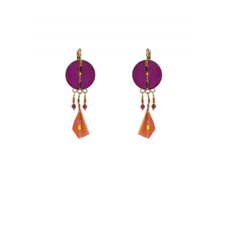 Glamorous feather sleeper earrings | pink