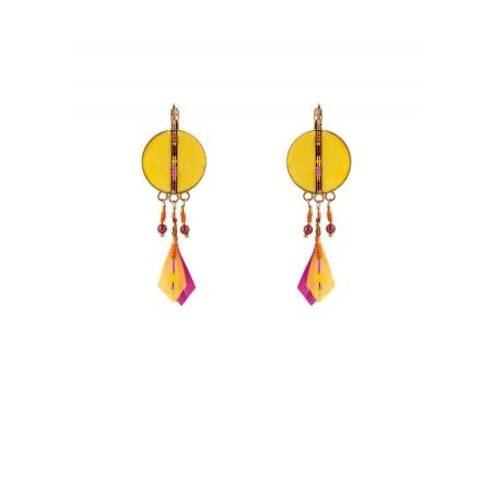 Boucles d'oreilles dormeuses arty plumes | jaune