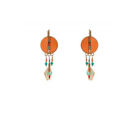 Summery feather sleeper earrings   orange