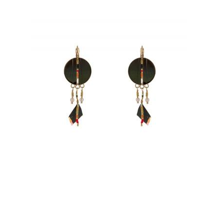 Elegant feather sleeper earrings   khaki