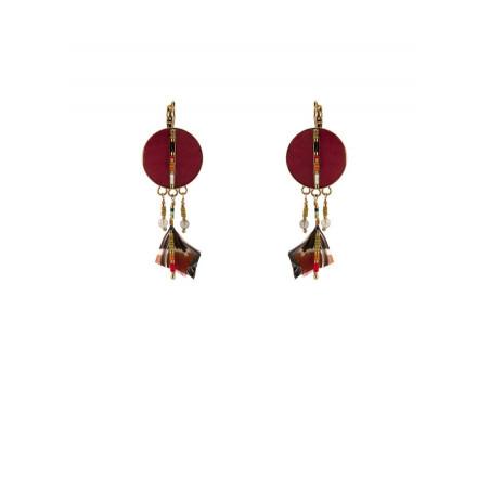 Boucles d'oreilles dormeuses féminines plumes   rouge