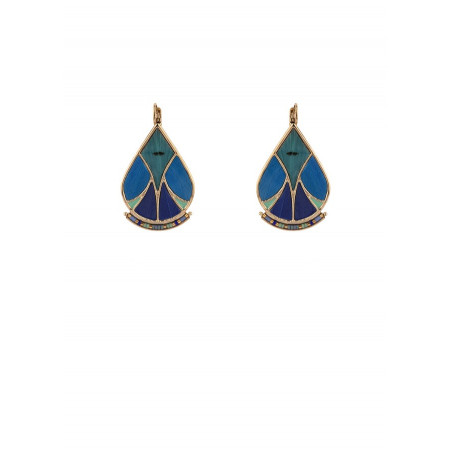 Graphic feather and bead sleeper earrings   blue
