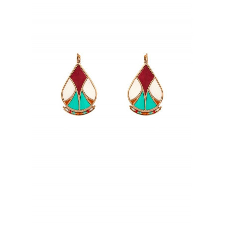 Arty feather and bead sleeper earrings l multicoloured