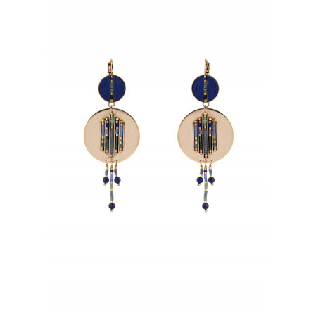 Ethnic feather and lapis lazuli sleeper earrings l blue