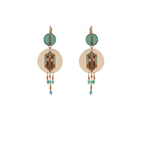 Bohemian feather and turquoise sleeper earrings | turquoise