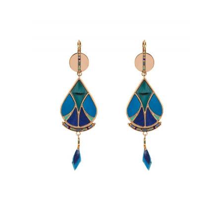 Summery feather and bead sleeper earrings   blue