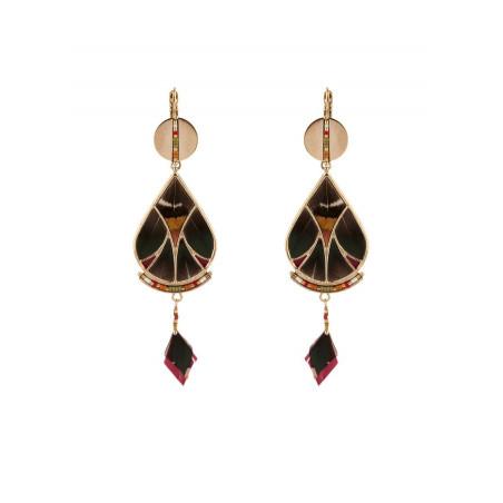 Elegant feather and bead sleeper earrings l khaki