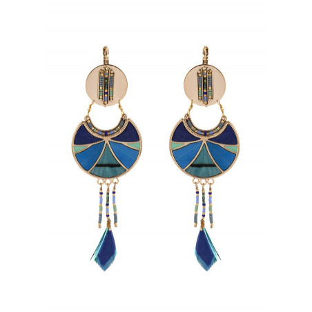 Graphic feather sleeper earrings | blue