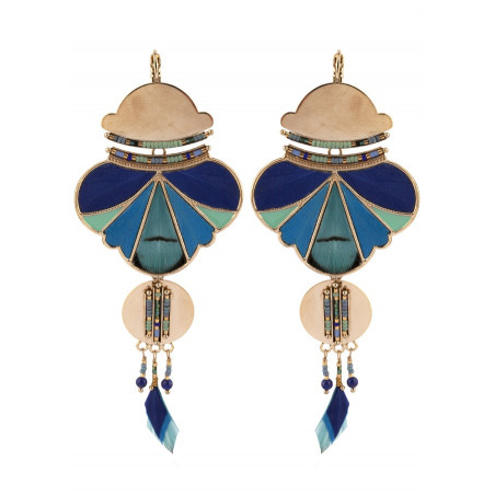 On-trend feather and bead sleeper earrings | blue