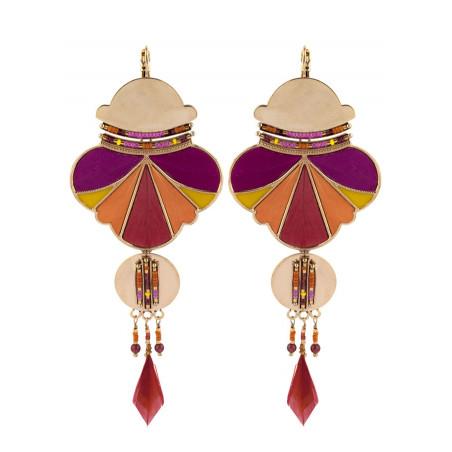 Boucles d'oreilles dormeuses féminines plumes et perles | rose