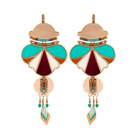 Ethnic chic feather and bead sleeper earrings l multicoloured