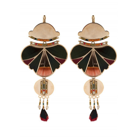 Refined feather and bead sleeper earrings l khaki