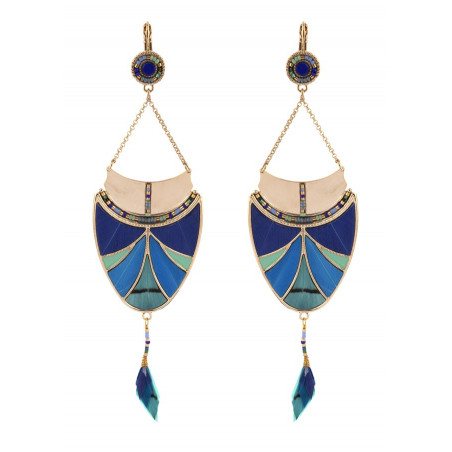 Boucles d'oreilles dormeuses pop plumes pierre lapis lazuli | bleu