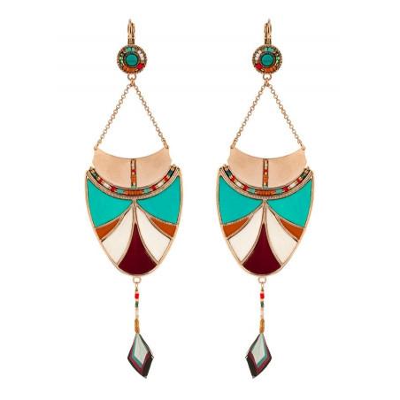 Boucles d'oreilles dormeuses mode plumes et pierre turquoise   multicolore