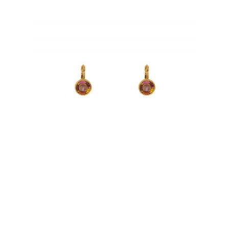 Feminine amethyst sleeper earrings | pink