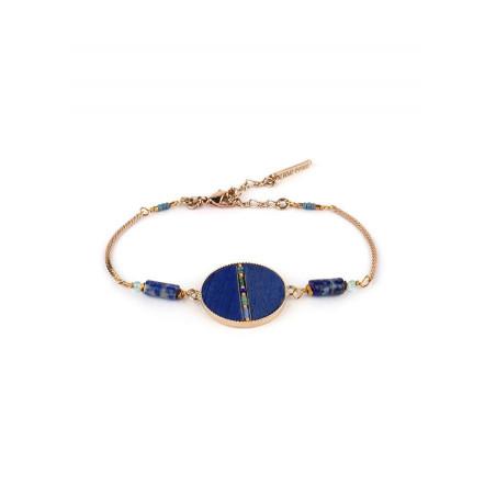 Bracelet souple élégant plumes et lapis lazuli   bleu