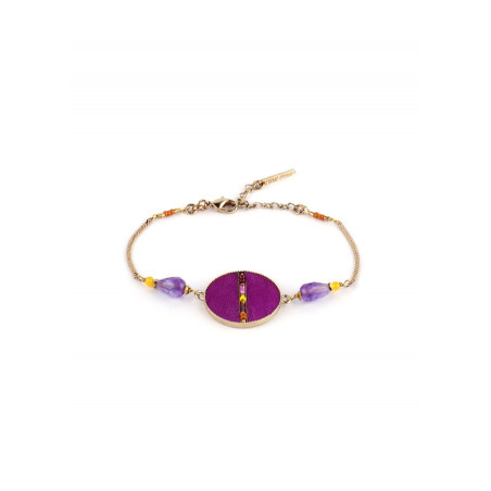 Refined feathers and amethyst flexible bracelet   pink
