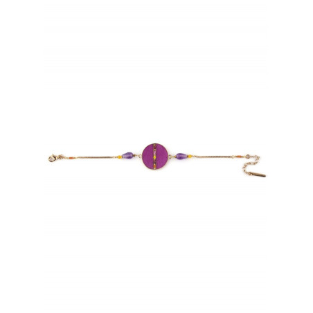 Refined feathers and amethyst flexible bracelet   pink73258