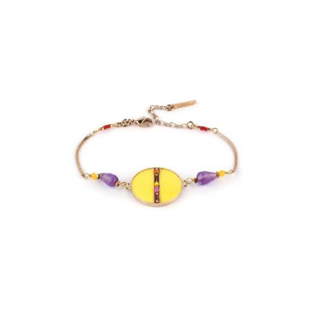 Bracelet souple pop plumes et améthyste   jaune