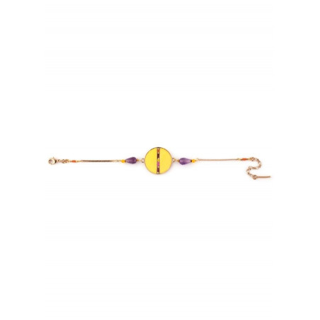 Bracelet souple pop plumes et améthyste   jaune73260