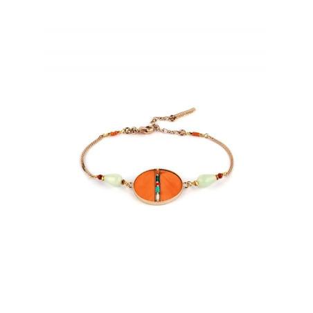 Bracelet souple solaire plumes et amazonite | orange