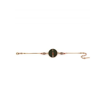 Fashionable feather and carnelian flexible bracelet khaki73266