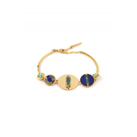 Beautiful feather crystal flexible bracelet |blue