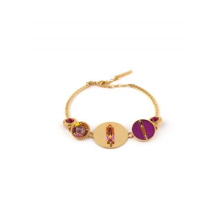 Bracelet souple glamour améthyste plumes et cristal | rose