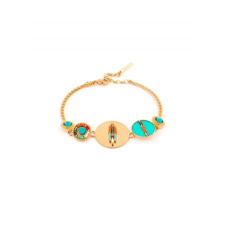 Fashionable feather crystal flexible bracelet | turquoise
