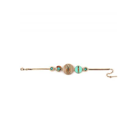 Fashionable feather crystal flexible bracelet | turquoise73274