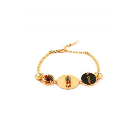 Bracelet souple chic grenat plumes et cristal | kaki