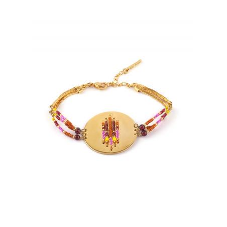 Bracelet souple estival grenat et perles du Japon | rose