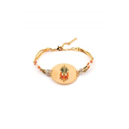 Bracelet souple bohème labradorite et perles du Japon | kaki
