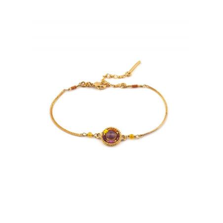Bracelet souple féminin améthyste perles du Japon | rose