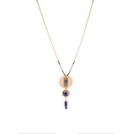 Collier pendentif bohème lapis lazuli et perles du Japon | bleu