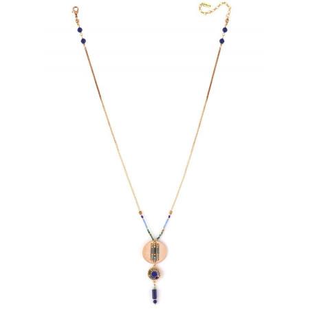 Collier pendentif bohème lapis lazuli et perles du Japon | bleu73294