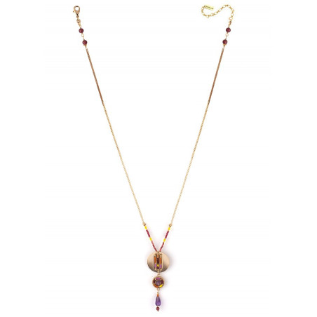 Ethnic chic amethyst and Japanese beads pendant necklace| pink73297