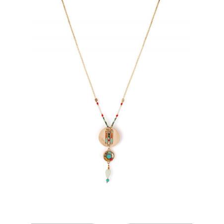 Collier pendentif estival turquoise et perles du Japon | multicolore