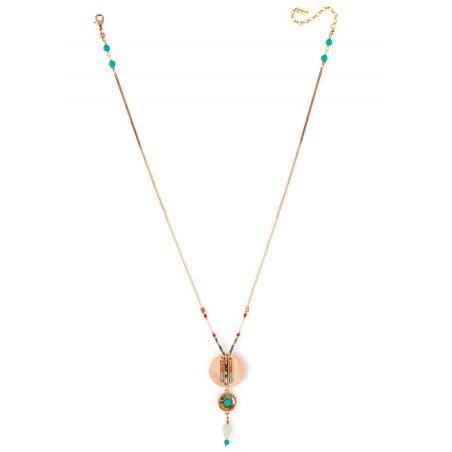Collier pendentif estival turquoise et perles du Japon | multicolore73300