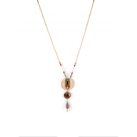 Fashionable garnet and Japanese bead pendant necklace  khaki