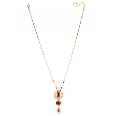 Fashionable garnet and Japanese bead pendant necklace  khaki73303