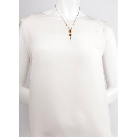 Fashionable garnet and Japanese bead pendant necklace  khaki73304