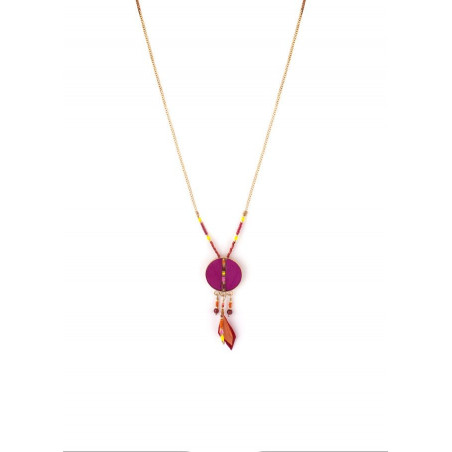 Feminine feather and garnet pendant necklace | pink