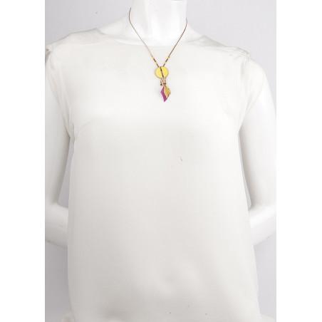 Collier pendentif festif plumes et grenat | jaune73313